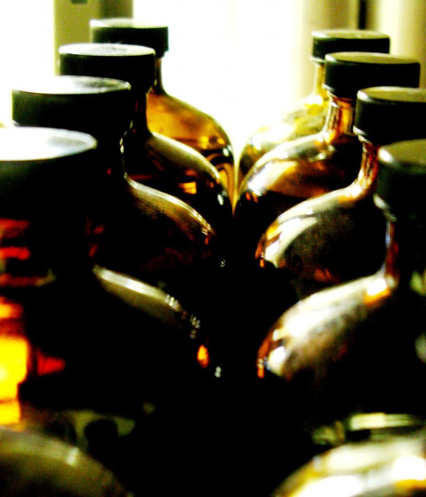 Essential oils and hydrosols are stored dark and cool in a dedicated cellar.  After the drying off process, the headspace in each bottle of essential oil is filled with nitrogen vapour.  Nitrogen facilitates the oxygen free environment in which the essential oil can rest until it is sold or used.