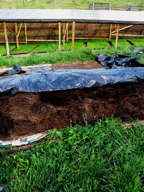 Vermi- compost - plastic is sometimes used to keep heat and moisture in the compost heap